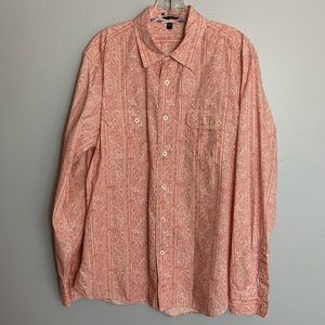 MENS GAP L/S RED PAISLEY SHIRT SIZE LARGE
